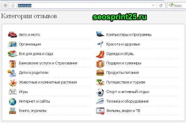 Категории на otzyvy.pro