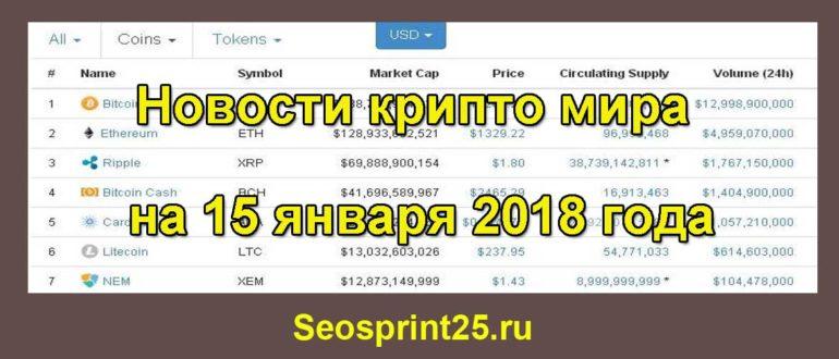Курс топовых монет и новости крипто мира на 15 января 2018 года